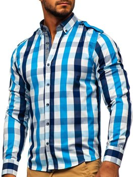 Men's Checkered Long Sleeve Shirt Sky Blue Bolf 2779