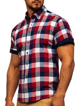 Men's Checkered Short Sleeve Shirt Claret Bolf 5532