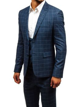 Men's Checkered Suit with Vest Navy Blue Bolf 18200