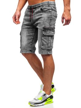 Men's Denim Cargo Shorts Black Bolf HY659