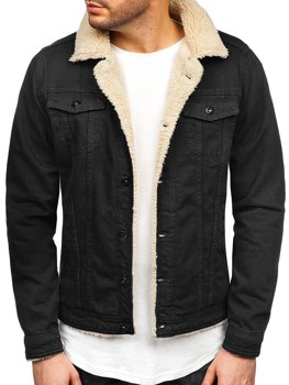 Men's Denim Jacket Black-White Bolf 1901