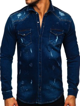 Men's Denim Long Sleeve Shirt Navy Blue Bolf R801