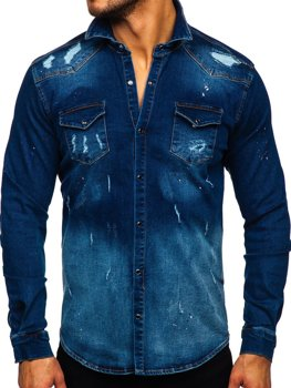 Men's Denim Long Sleeve Shirt Navy Blue Bolf R802