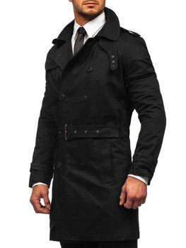 Men's Double-breasted Trench Coat with High Collar and Belt Black Bolf 5569