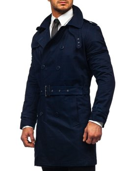 Men's Double-breasted Trench Coat with High Collar and Belt Navy Blue Bolf 5569