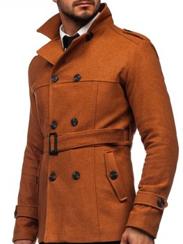 Men's Double-breasted Winter Coat with Belt and High Collar Brown Bolf 0009