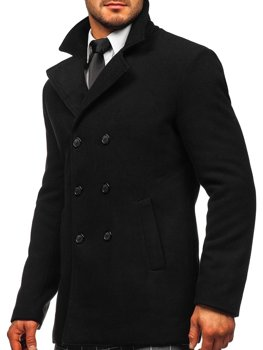 Men's Double-breasted Winter Coat with High Collar Black Bolf 8078