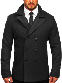 Men's Double-breasted Winter Coat with High Collar Graphite Bolf 8801