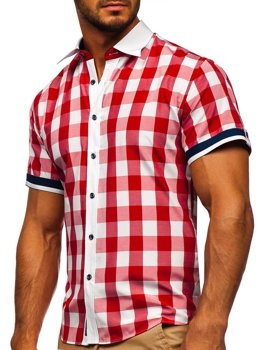 Men's Elegant Checked Short Sleeve Shirt Red Bolf 8901