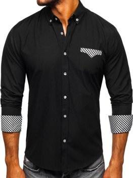 Men's Elegant Long Sleeve Shirt Black Bolf 4711