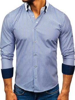 Men's Elegant Long Sleeve Shirt Blue Bolf 0909-A
