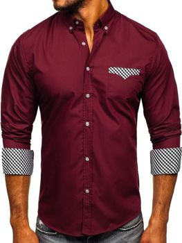 Men's Elegant Long Sleeve Shirt Claret Bolf 4711