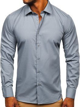 Men's Elegant Long Sleeve Shirt Graphite Bolf SM7