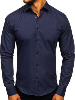 Men's Elegant Long Sleeve Shirt Navy Blue Bolf 1703