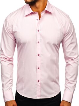 Men's Elegant Long Sleeve Shirt Pink Bolf 1703