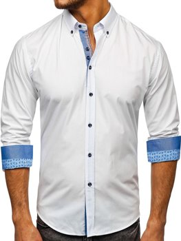 Men's Elegant Long Sleeve Shirt White Bolf 8838-1