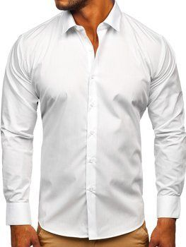 Men's Elegant Long Sleeve Shirt White Bolf SM7