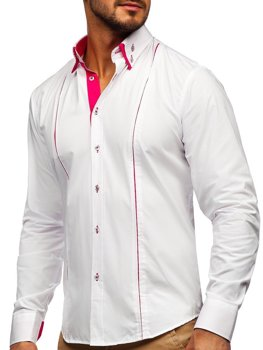 Men's Elegant Long Sleeve Shirt White-Pink Bolf 4744