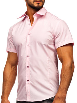 Men's Elegant Short Sleeve Shirt Pink Bolf 7501