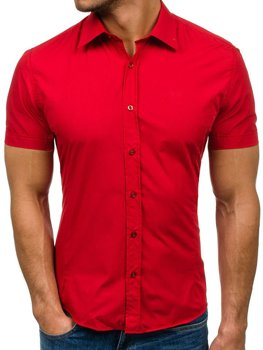 Men's Elegant Short Sleeve Shirt Red Bolf 7501