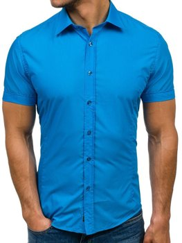 Men's Elegant Short Sleeve Shirt Turquoise Bolf 7501