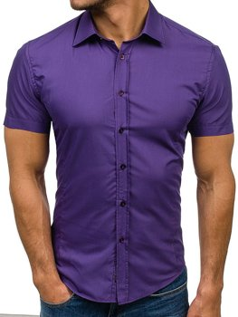Men's Elegant Short Sleeve Shirt Violet Bolf 7501