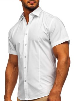 Men's Elegant Short Sleeve Shirt White Bolf 7501