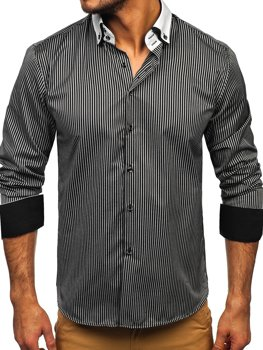 Men's Elegant Striped Long Sleeve Shirt Black Bolf 0909-A