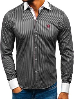 Men's Elegant Striped Long Sleeve Shirt Black Bolf 4784-A