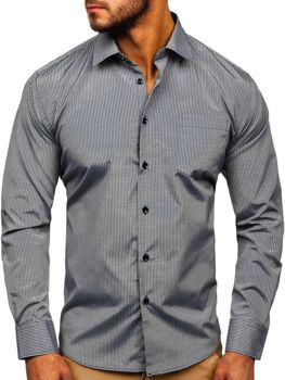 Men's Elegant Striped Long Sleeve Shirt Grey Bolf NDT10