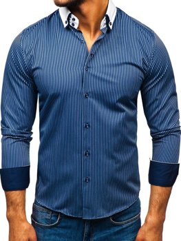 Men's Elegant Striped Long Sleeve Shirt Navy Blue Bolf 0909-A