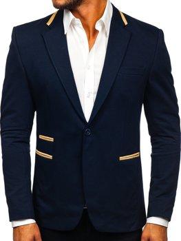 Mens Leather Lapel Blazer Suit Jacket Single-Breasted Slim Fit Coat Dress Autumn