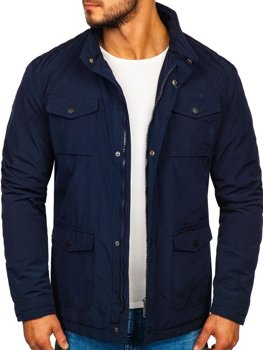 Men's Elegant Transitional Jacket Navy Blue Bolf 1850