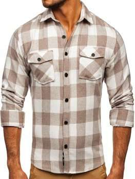 Men's Flannel Long Sleeve Shirt Beige Bolf 20723