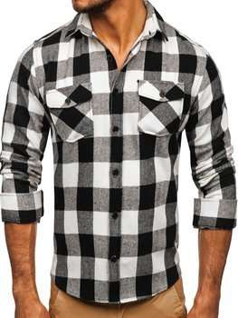 Men's Flannel Long Sleeve Shirt Black Bolf 20723
