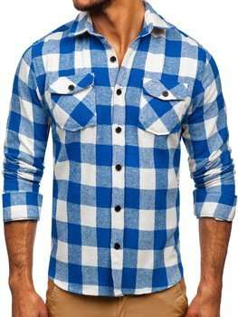 Men's Flannel Long Sleeve Shirt Blue Bolf 20723