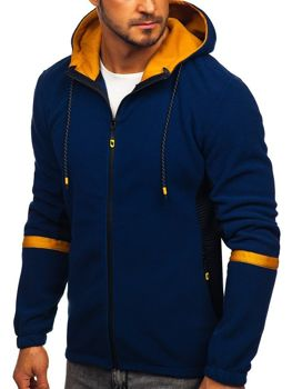 Men's Fleece Hoodie Navy Blue Bolf YL007