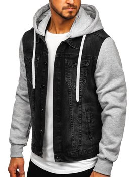 Men's Hooded Denim Jacket Black Bolf 211902