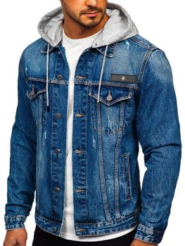 Men's Hooded Denim Jacket Blue Bolf RB9872