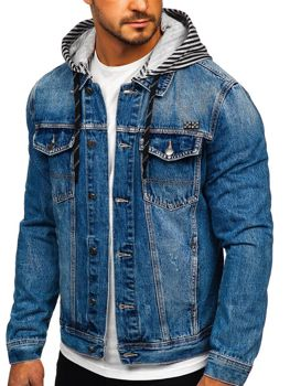 Men's Hooded Denim Jacket Blue Bolf RB9887