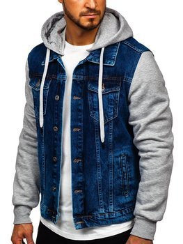 Men's Hooded Denim Jacket Navy Blue Bolf 211902