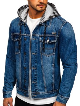 Men's Hooded Denim Jacket Navy Blue Bolf RB9887-1