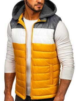 Men's Hooded Gilet Yellow Bolf 6105