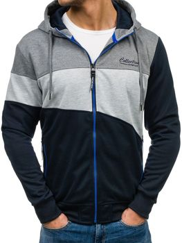 Men's Hoodie Navy Blue-Graphite Bolf HL02