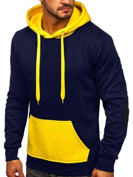 Men's Hoodie Navy Blue-Yellow Bolf LM77001