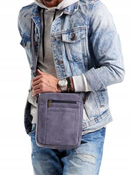 Men's Leather Bag Navy Blue 2521