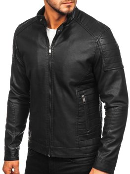 Men's Leather Biker Jacket Black Bolf 88901