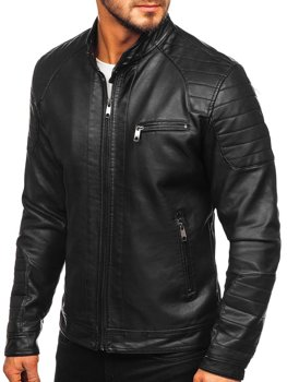 Men's Leather Biker Jacket Black Bolf 88902