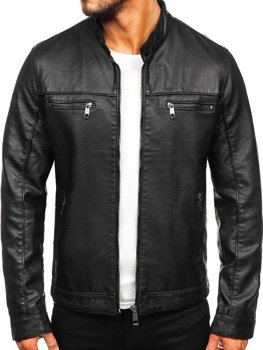 Men's Leather Biker Jacket Black Bolf 88906