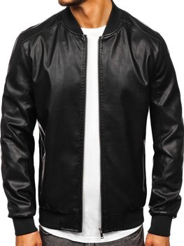Men's Leather Bomber Jacket Black Bolf 1147